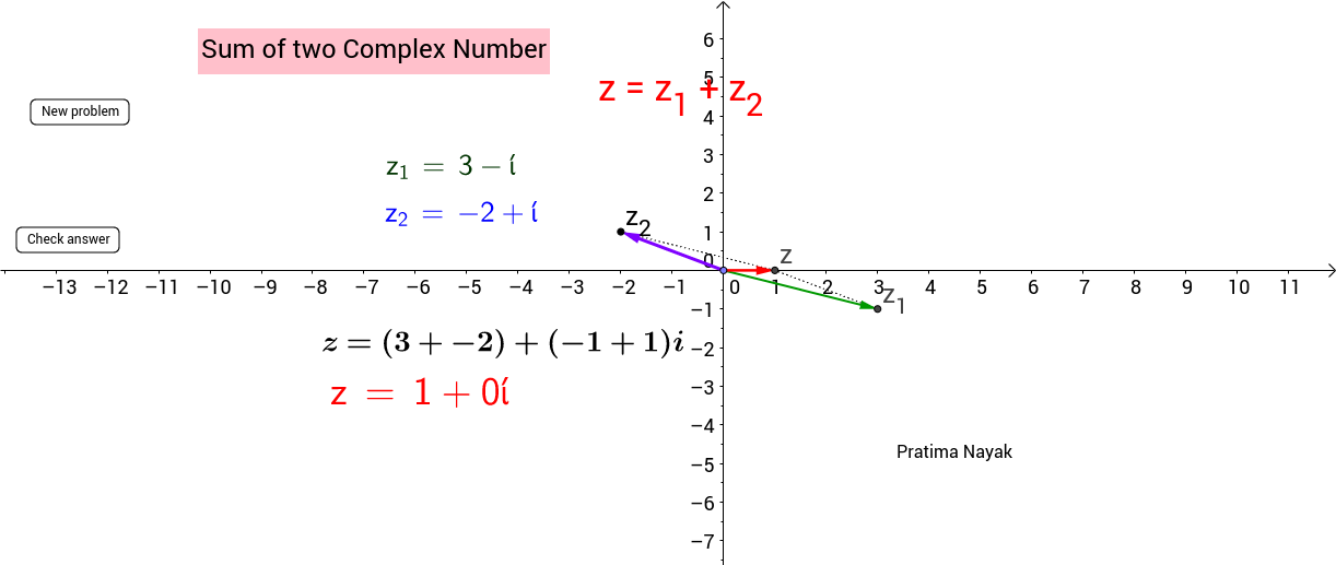 Sum of two copmlex numbers