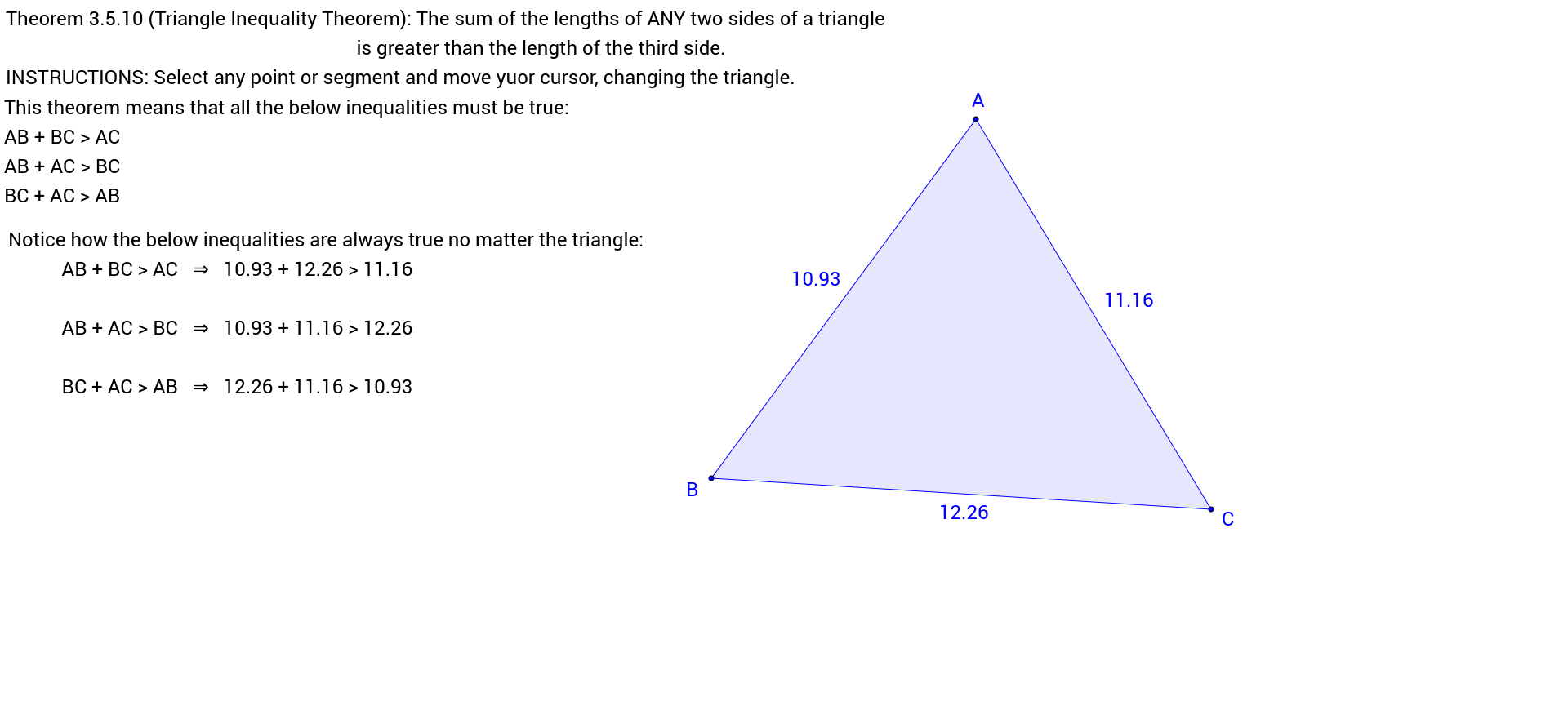 worksheet Triangle Inequalities Worksheet theorem 3 5 10 triangle inequality geogebra