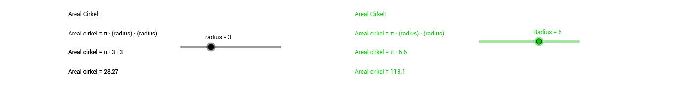 Konversion mellem registre cirklens areal