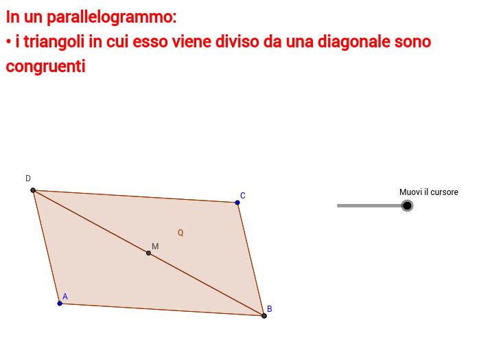 Diagonale del parallelogramma