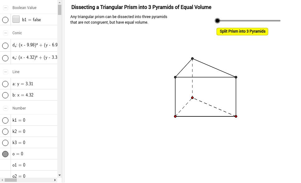 Dissecting a triangular prism into 3 equalvolume pyramids GeoGebra – Volume of Triangular Prisms Worksheet