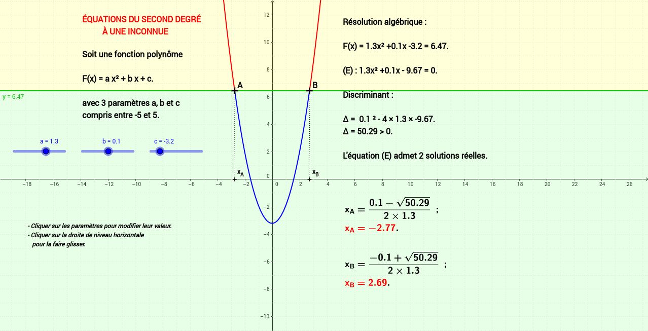 Equations du second degré à une inconnue.
