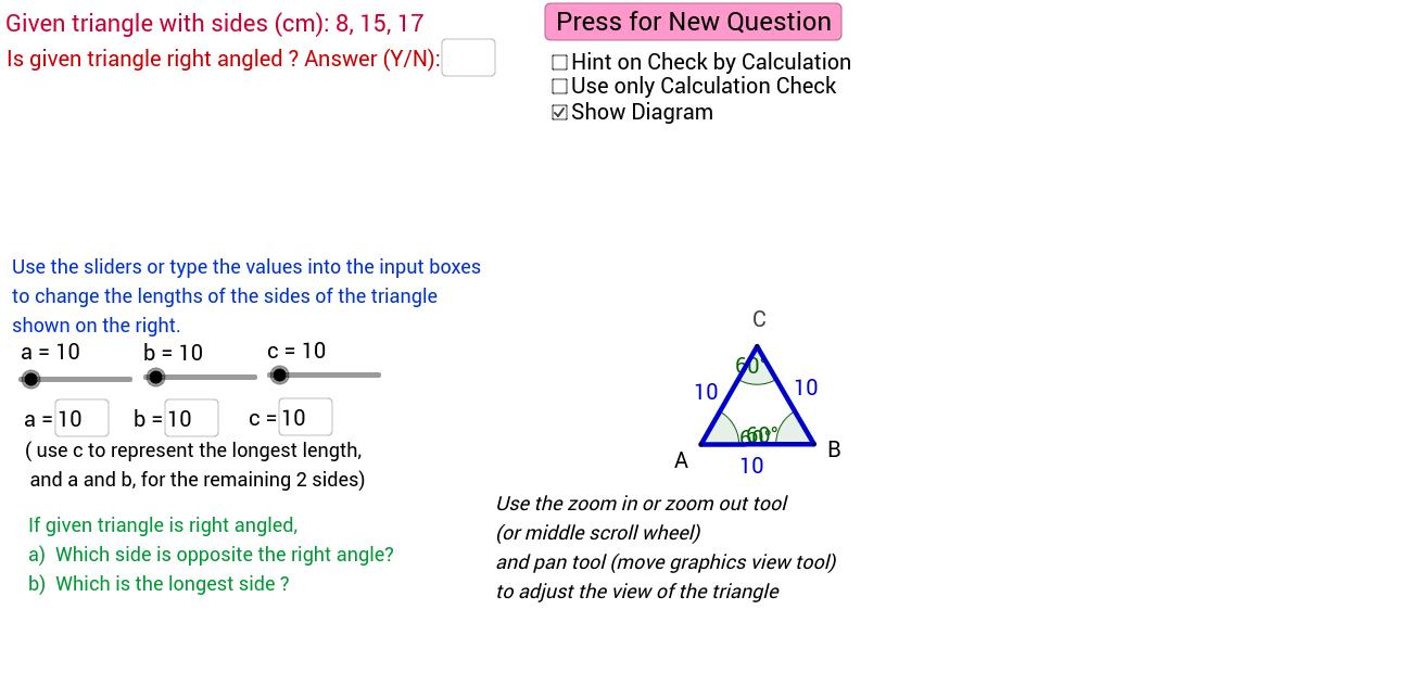 Converse of Pythagoras Theorem GeoGebra – Converse of Pythagorean Theorem Worksheet