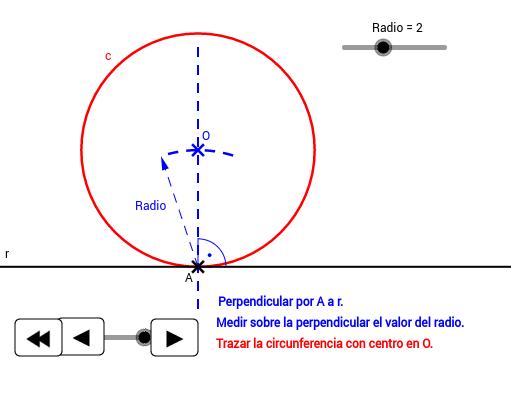 EPV3.Tangencias.Circunferencia tg a recta en A.
