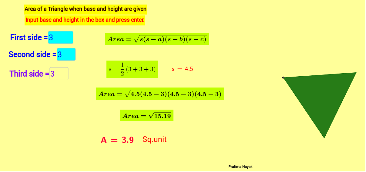 Worksheet Area Of Triangle Herons Formula Geogebra