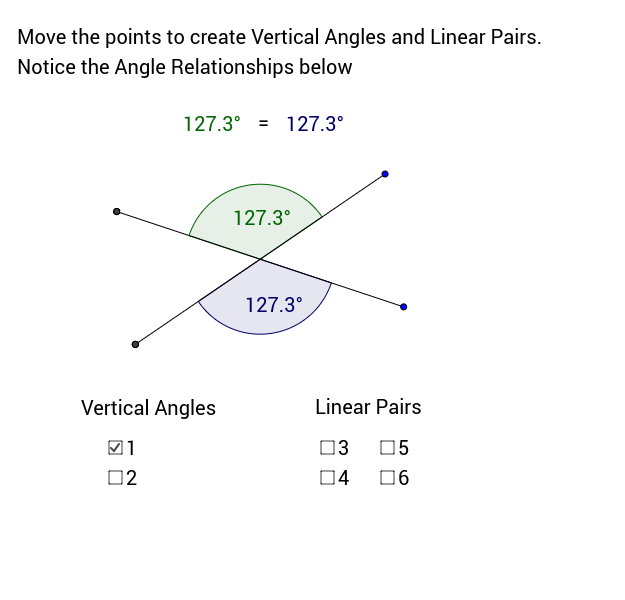 Vertical Angles and Linear Pairs GeoGebra – Vertical Angles Worksheet