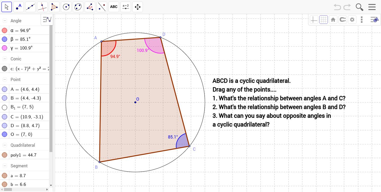 Cyclic quadrilateral geogebra geogebra applet ccuart Gallery