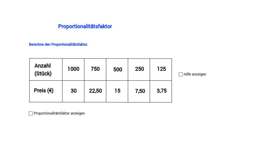 Proportionalitätsfaktor, Teil 1