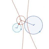 Locus of the centers of all circles tangent to two circles