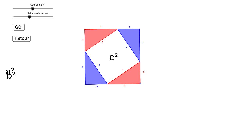 Démonstration dynamique de la relation de Pythagore