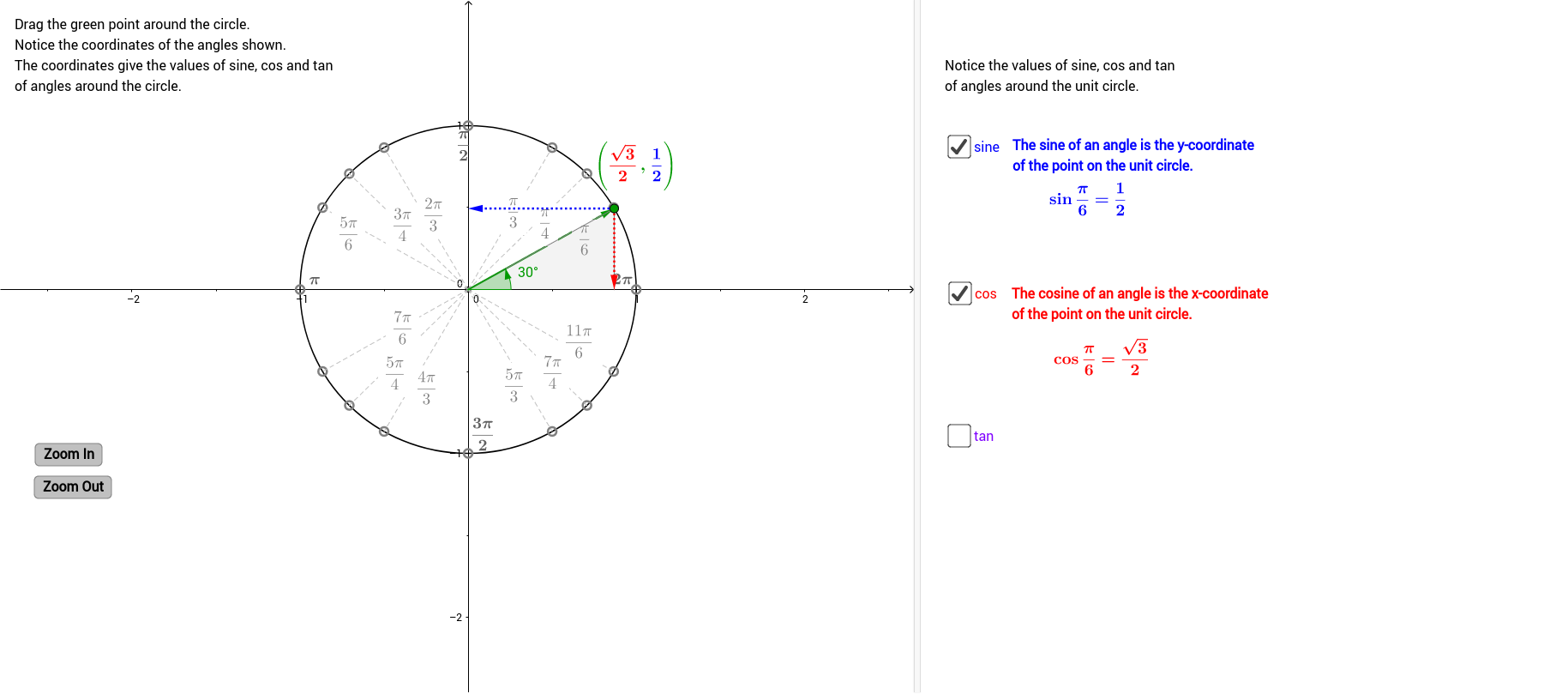 Worksheets Sine Cosine Tangent Worksheet exact values of sine cos and tan in the unit circle geogebra