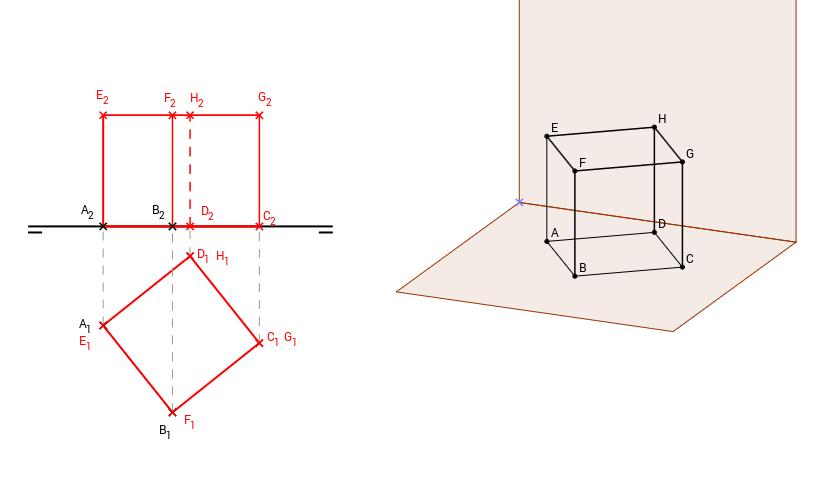 DT2.Diedrico. Poliedros. Hexaedro apoyado en una cara.