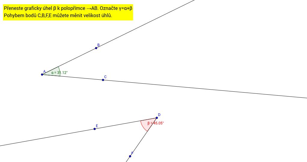 Řešení k úkolu grafické sčítání úhlů