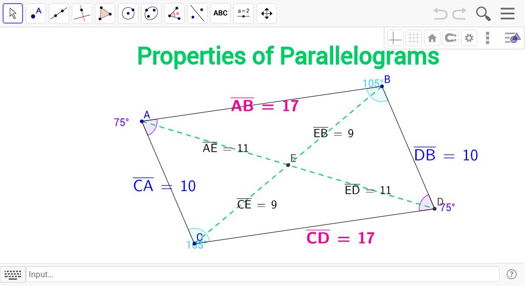 Properties of Parallelograms - GeoGebra