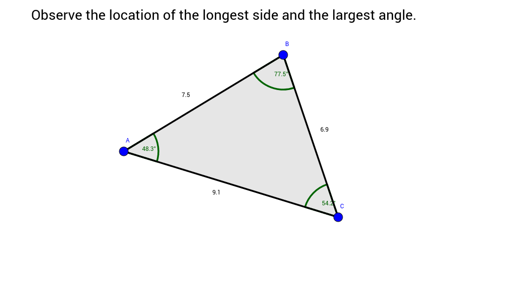 the relationship between triangle sides and angles calculator