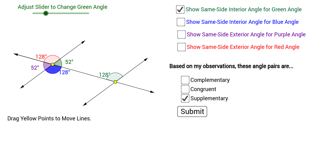 ... Angle Pairs And The Same Side Exterior Angle Pairs Created By Parallel  Lines And A Transversal. You Can Adjust The Angle With The Slider And Move  The ...