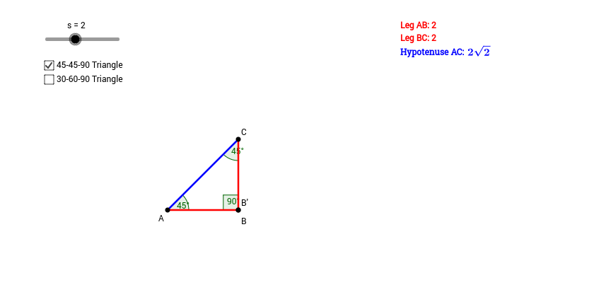 Exploring Special Right Triangles GeoGebra – 45 45 90 Triangle Worksheet