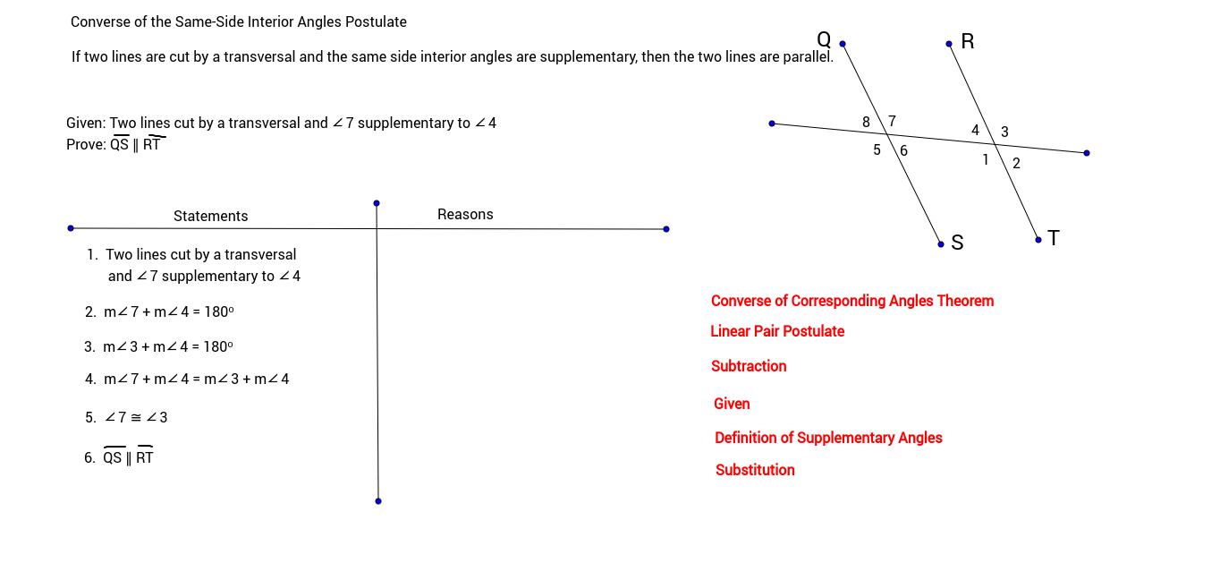 Same Side Interior Angles Postulate