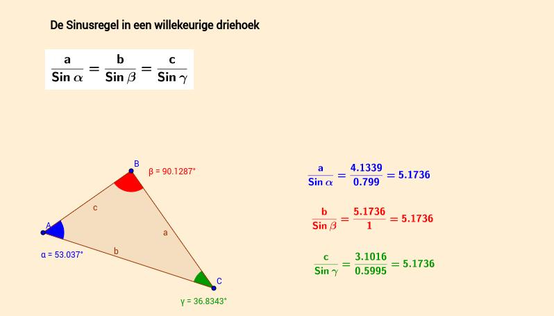 De sinusregel in een willekeurige driehoek