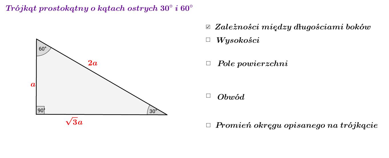 Trójkąt prostokątny o kątach ostrych 30 i 60 stopni
