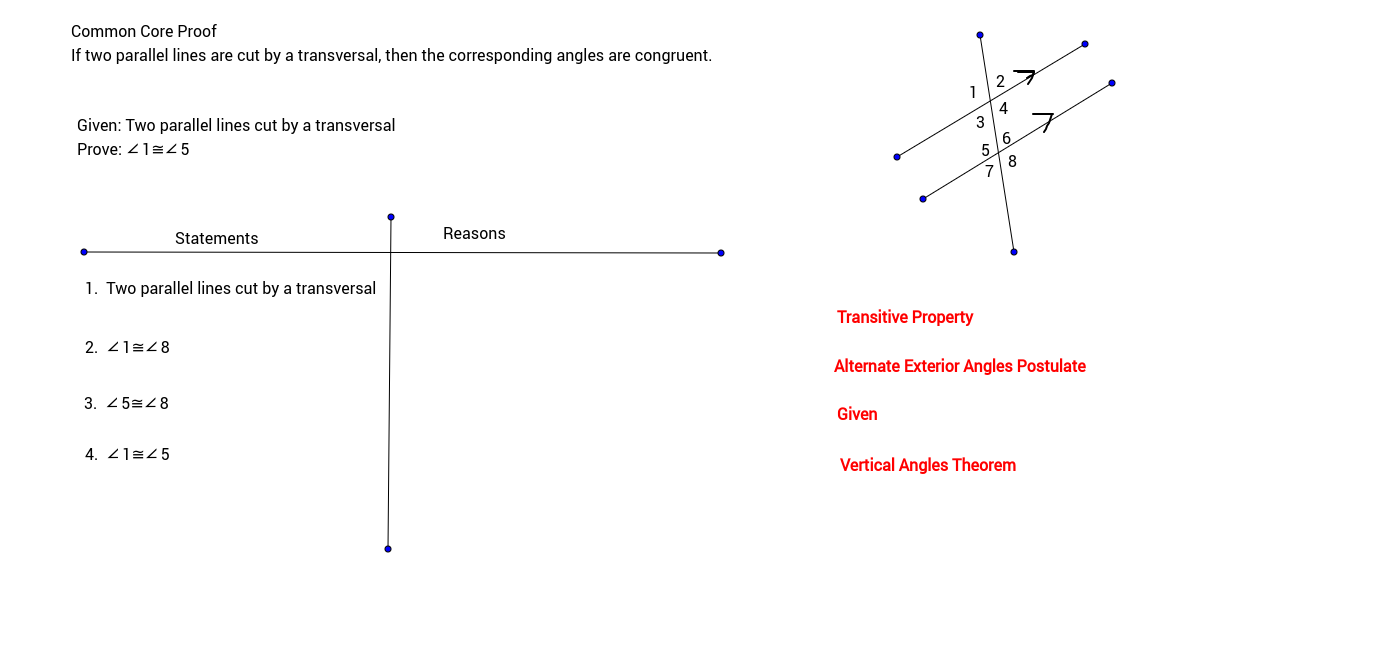 Worksheets Two Column Proof Worksheet proofs geogebra two column proof corresponding angles
