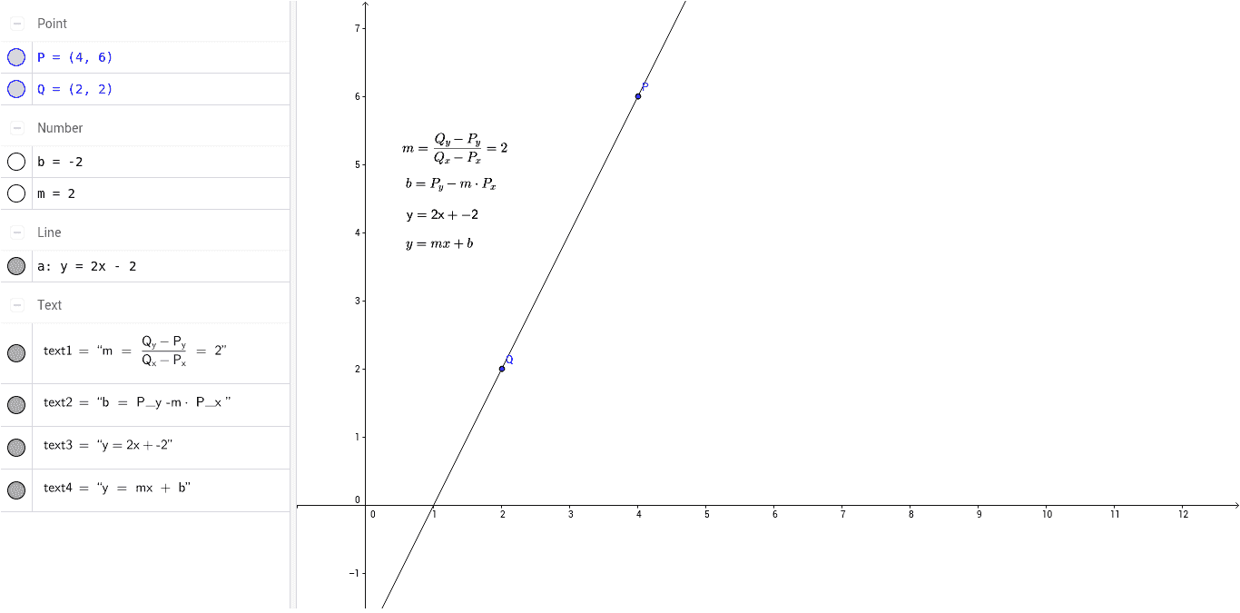 Notice that the line equation disappears when the points are arranged so  that the line would be vertical. This is one good reason to use vectors and  vector ...