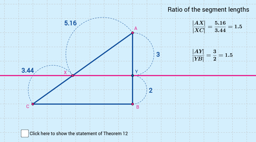 Theorem 12: Line dividing sides of triangle in ratio