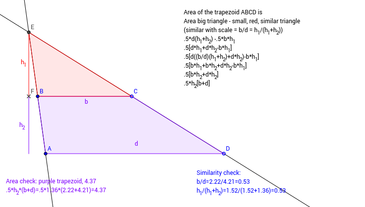 Area of a Trapezoid by Similarity GeoGebra – Area of a Trapezoid Worksheet
