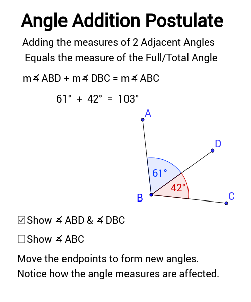 Angle Addition Postulate - GeoGebra