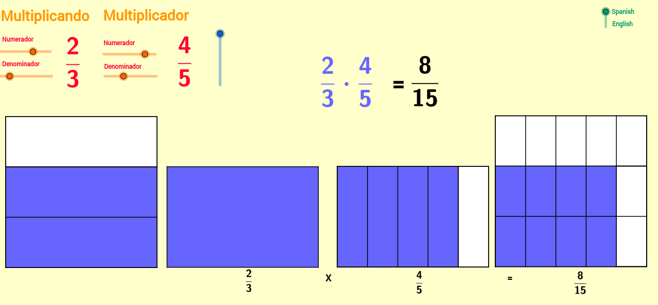 Multiplicación de fracciones. Multiplying fractions.