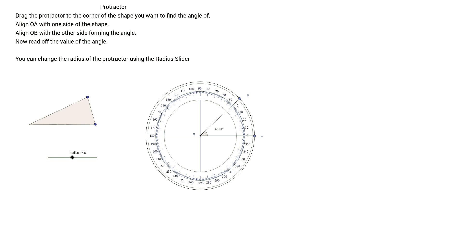 Virtual Protractor GeoGebra – Using a Protractor Worksheet