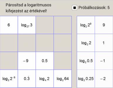 Logaritmusos kifejezések és értékük - párosítós játék