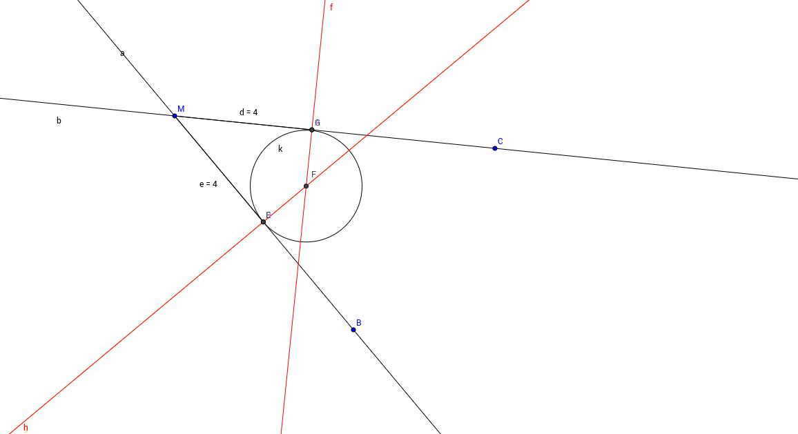 دائرة تقع على مماسين طريقة 2