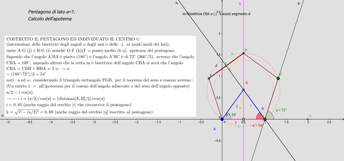 calcolo apotema pentagono