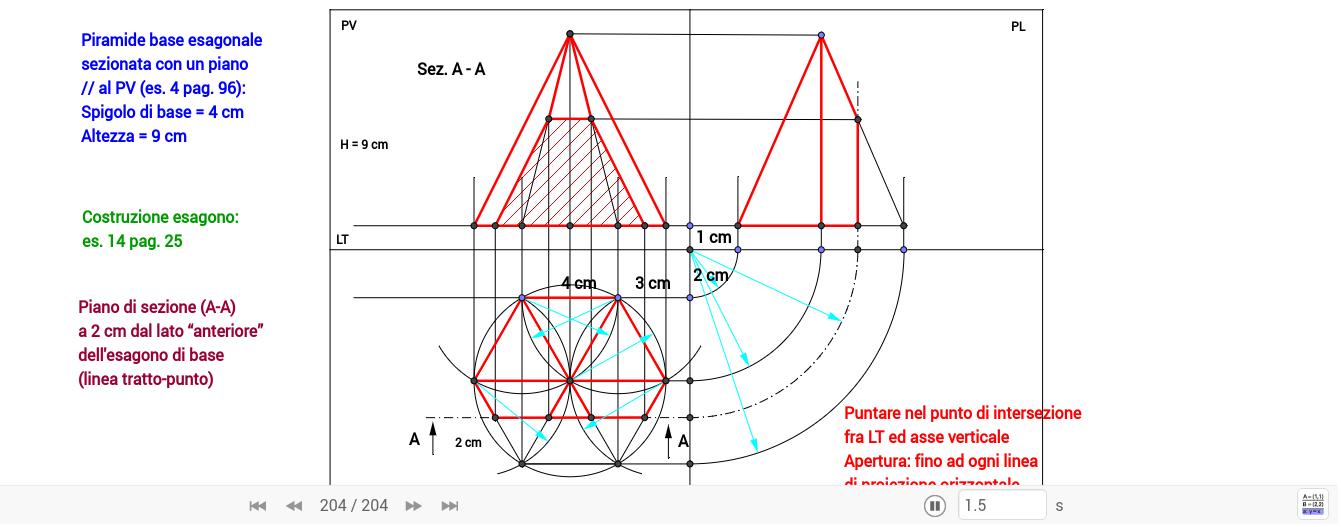 Proiezioni ortogonali piramide a base esagonale for 2500 piani quadrati di 2 piani
