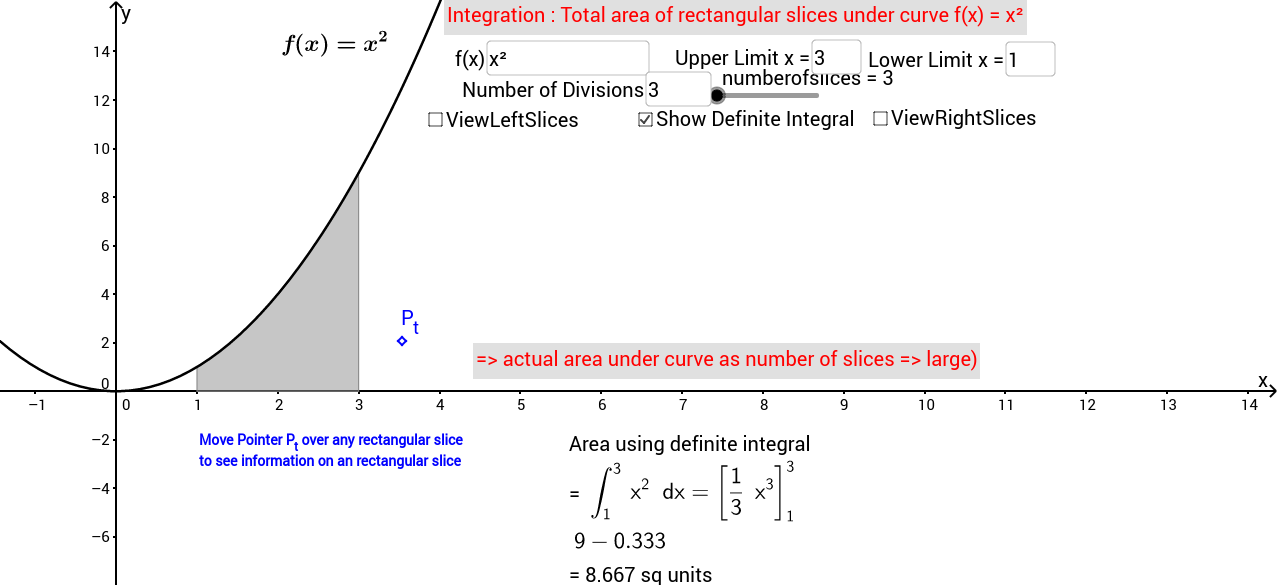 Area under Curve as sum of subdivided rectangles to limits