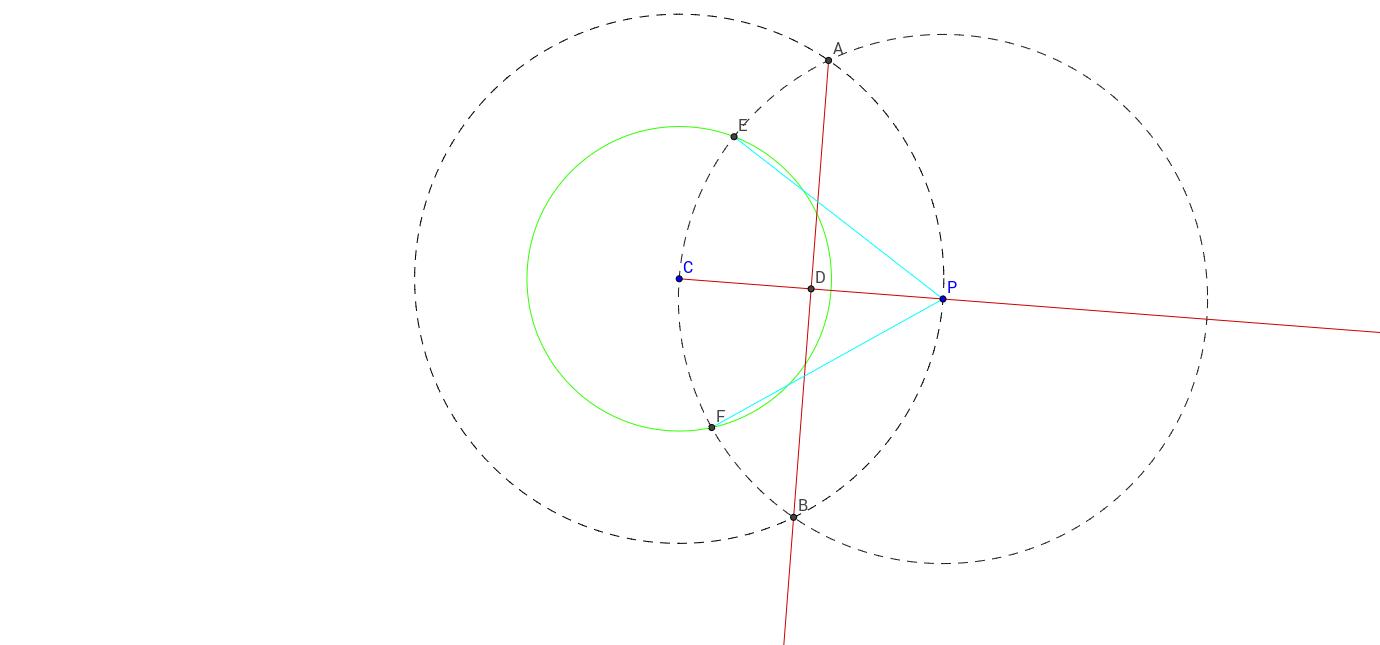 Recta tangente a un círculo en un punto P sobre este.