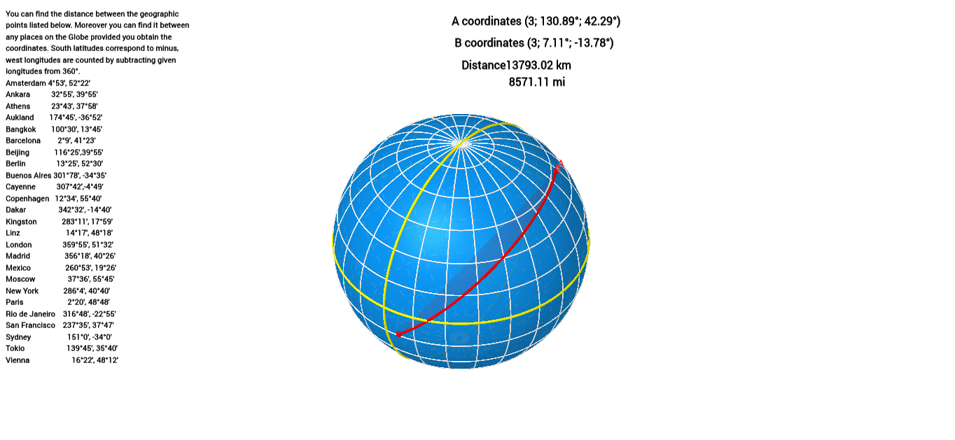Orthodromic Distance Between 2 Geographical Points