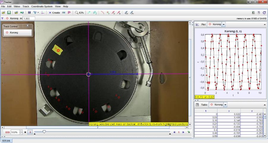 Lemezjátszó korongjának vizsgálata – egyenletes körmozgás (lassú) – Videoelemzés