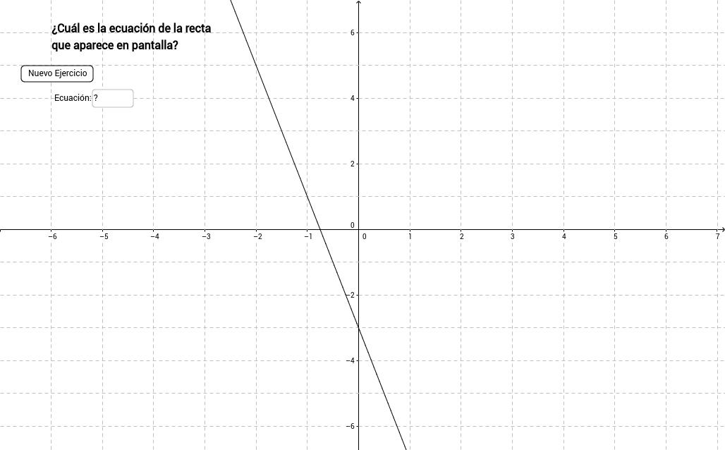 2. Ejercitador de Funciones Lineales (Recta->Ecuación)