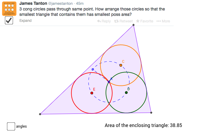 Concurrent Circles and Minimum Triangle