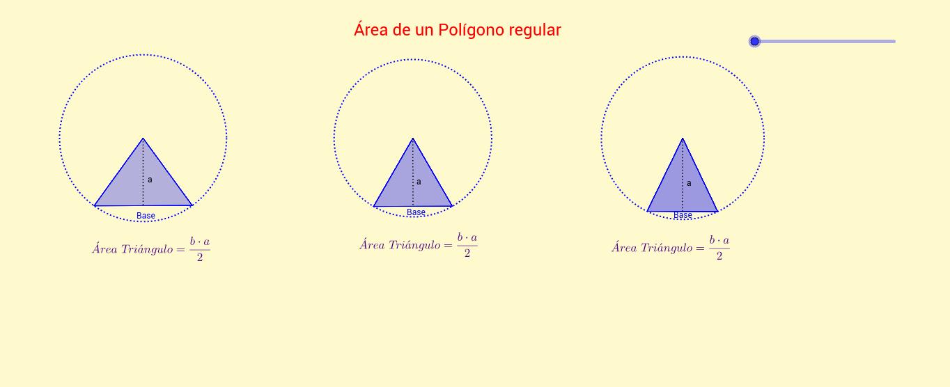 Áreas de polígonos regulares.