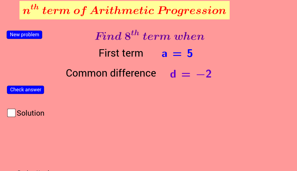 worksheet on nth term of A.P