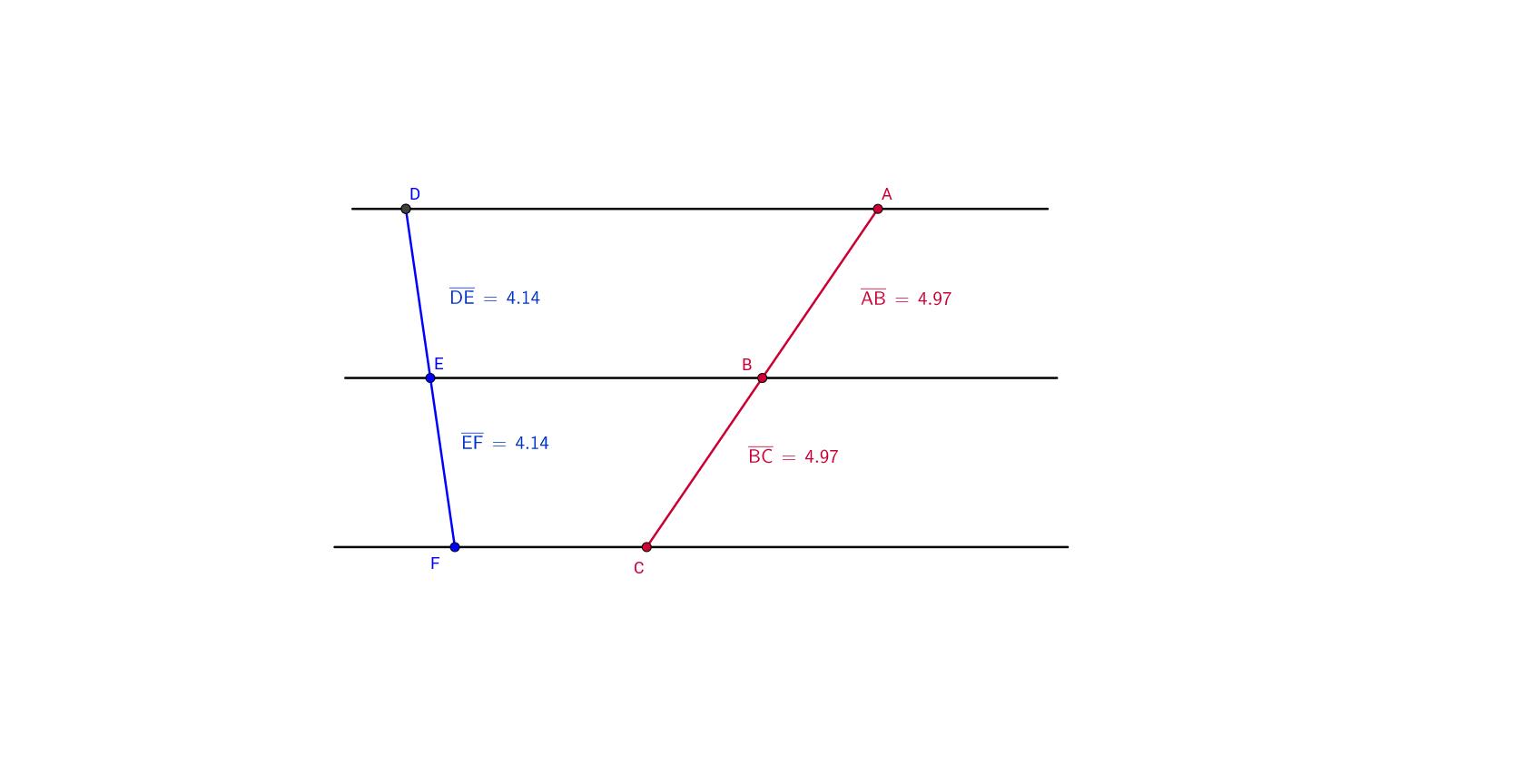 Theorem 11 three parallel lines cutting a transversal geogebra view worksheet robcynllc Choice Image