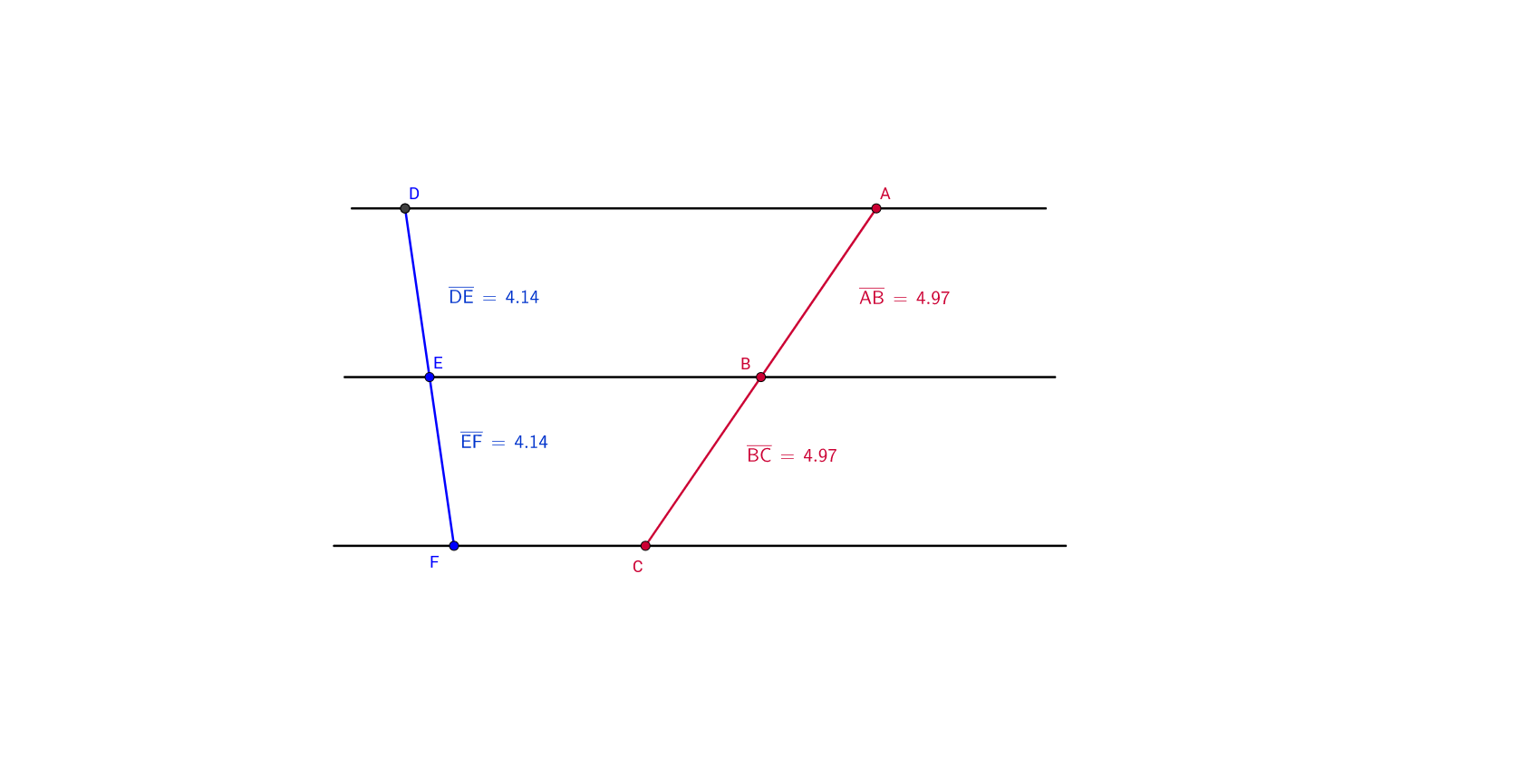 Uncategorized Parallel Lines And Transversal Worksheet theorem 11 three parallel lines cutting a transversal geogebra drag the points to change position of transversals one so that de and ef are no longer equal