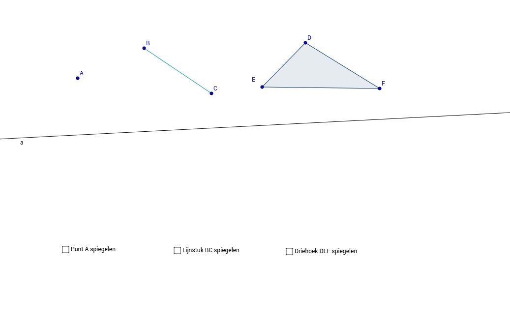 Spiegelen van punt, lijnstuk en veelhoek