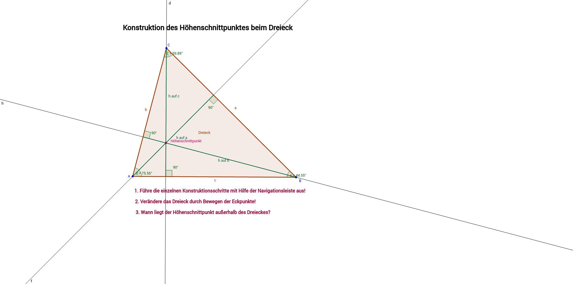 Der Höhenschnittpunkt beim Dreick