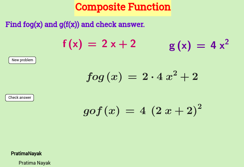 Worksheet on composite function