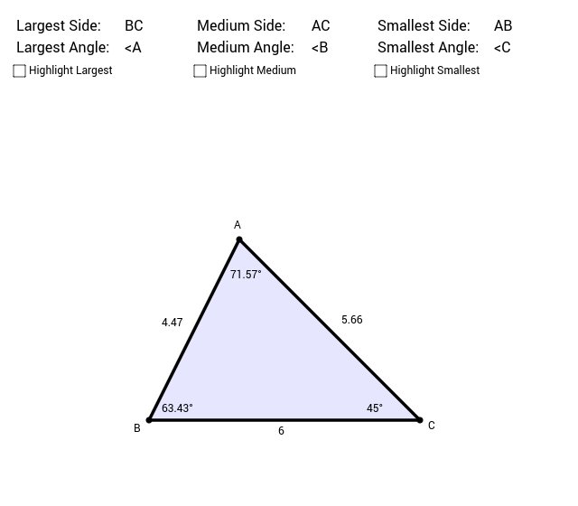 6.4 Inequalities for Sides & Angles in One Triangle