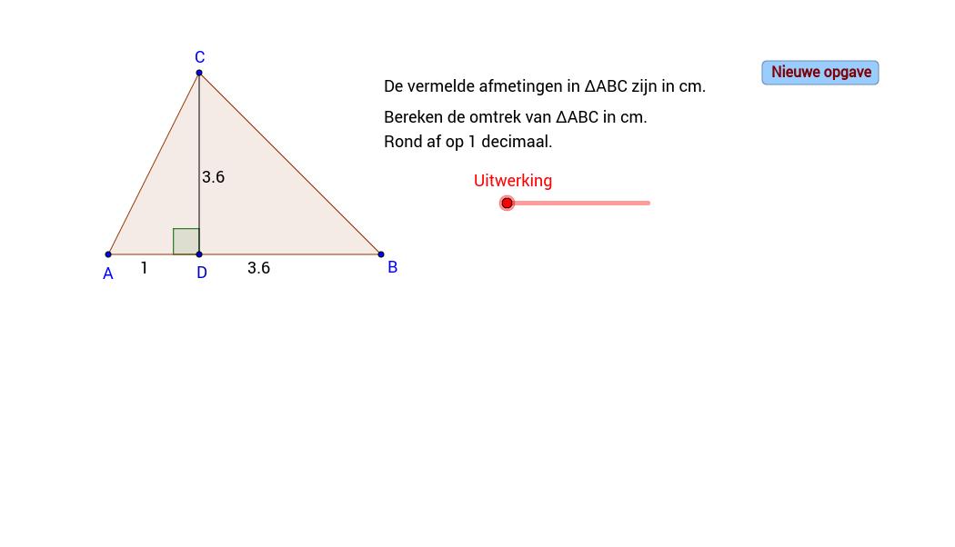 Stelling van Pythagoras. Bereken de omtrek.